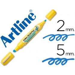 Rotulador artline multipen emp-25 azul doble punta punta biselada 5 mm punta redonda 2 mm
