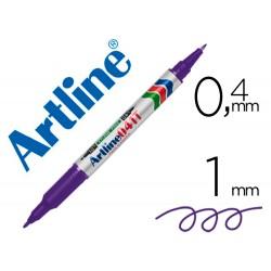 Rotulador artline marcador permanente ek-041t violeta -doble punta 0.4 y 1.0 mm
