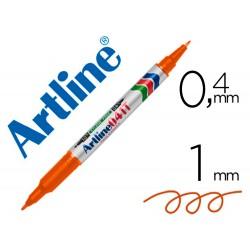 Rotulador artline marcador permanente ek-041t naranja -doble punta 0.4 y 1.0 mm