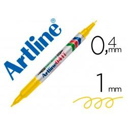 Rotulador artline marcador permanente ek-041t amarillo -doble punta 0.4 y 1.0 mm