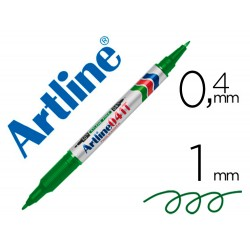Rotulador artline marcador permanente ek-041t verde -doble punta 0.4 y 1.0 mm
