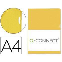 Carpeta dossier uñero plastico q-connect din a4 120 micras amarilla -bolsa de 10 unidades