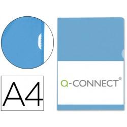 Carpeta dossier uñero plastico q-connect din a4 120 micras azul -bolsa de 10 unidades