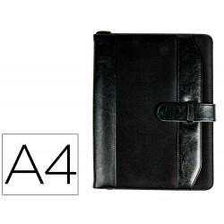 Carpeta portafolios 35-857-ne negra 350x260 mm con cremallera con calculadora-con departamentos interiores