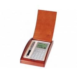Juego boligrafo y calculadora -en estuche de madera