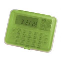 Calculadora imac p-855 cfv -euro -transparente verde -con reloj -alarma