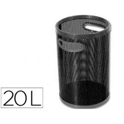 Papelera metalica con asas 102 p negra -calada -32x25 cm -goma en abertura y base