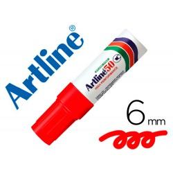 Rotulador artline marcador permanente ek-50 rojo -punta biselada 6 mm -papel metal y cristal