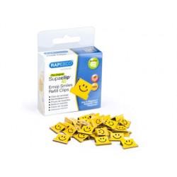 Supaclips rapesco capacidad 40 hojas sonrisas color amarillo intenso caja de 100 unidades