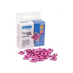Supaclips rapesco capacidad 40 hojas corazones color rosa intenso caja de 100 unidades