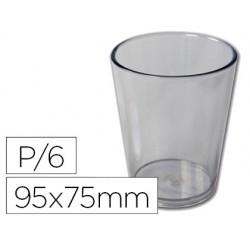Vaso de abs transparente con borde grueso redondeado apto microondas y lavavajillas 95x75 mm pack de 6 unidades
