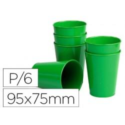 Vaso de abs verde con borde grueso redondeado apto microondas y lavavajillas 95x75 mm pack de 6 unidades