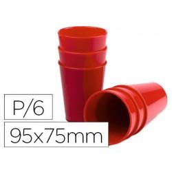 Vaso de abs rojo con borde grueso redondeado apto microondas y lavavajillas 95x75 mm pack de 6 unidades
