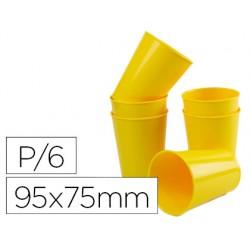 Vaso de abs amarillo con borde grueso redondeado apto microondas y lavavajillas 95x75 mm pack de 6 unidades