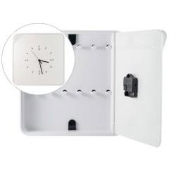 Armario plastico portallaves paperflow con reloj para 12 llaves 320x60x320 mm blanco