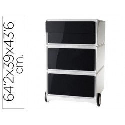 Archivador movil fast-paperflow poliestireno 4 cajones negros modulo blanco 642x390x436 mm