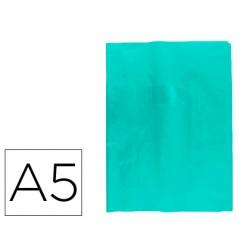 Protector cuaderno clairefontaine con etiqueta din a5 piel en pvc azul claro