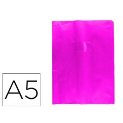 Protector cuaderno clairefontaine con etiqueta din a5 piel en pvc rosa fucsia