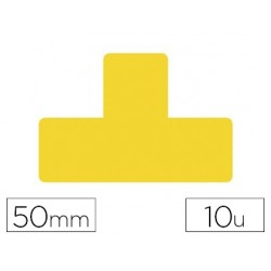 Simbolo adhesivo tarifold pvc forma t para delimitacion suelo 50 mm amarillo pack de 10 unidades