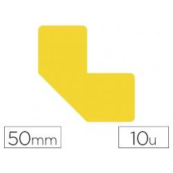 Simbolo adhesivo tarifold pvc forma l para delimitacion suelo 50 mm amarillo pack de 10 unidades