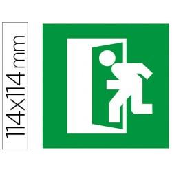 Etiqueta adhesiva apli de señalizacion simbolo puerta de salida de emergencia 114x114 mm