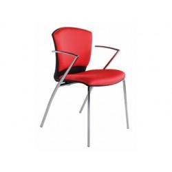 Silla rocada confidente estructura cromada con brazos.tela ignifuga color rojo altura 82cm base 52x56cm