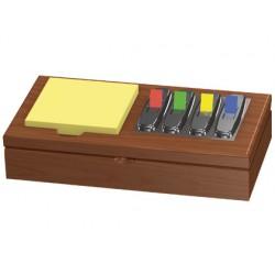 Soporte bloc de notas adhesivas y banderitas separadoras madera s-53 200x420x106mm