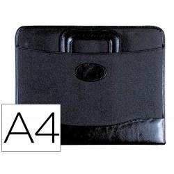 Cartera portadocumentos 35-921 negra 360x285 mm con asa 4 anillas 40 mm cremallera -con departamentos interiores