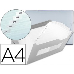 Carpeta beautone clasificador fuelle 42164 polipropileno din a4 transparente -2 huecos tarjetas -13 departamentos