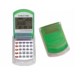 Calculadora imac p-845 v -calendario con alarma -transparente verde -con reloj