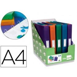 Carpeta liderpapel 4 anillas 25mm mixtas polipropileno din a4 colores surtidos