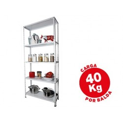Estanteria metalica ar storage 170x75x30 cm 5 estantes 40 kg por estante color blanco