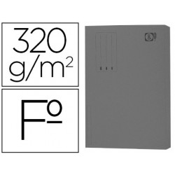 Subcarpeta cartulina gio folio pocket gris intenso con bolsa y solapa 320g/m2