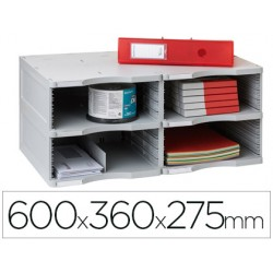 Archivador modular archivo 2000 archivodoc duo jumbo 4 casillas gris 600x360x275 mm