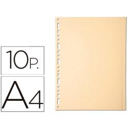 Separador exacompta cartulina juego de 10 separadores din a4multitaladro color crema