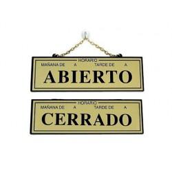 Letrero metalico serigrafiado abierto y cerrado con horario y cadena para colgar 230x70 mm oro