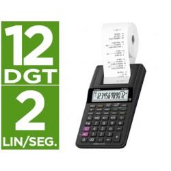 Calculadora casio impresora pantalla lc papel 58mm hr-8rce12 digitos ac/dc pilas color negro
