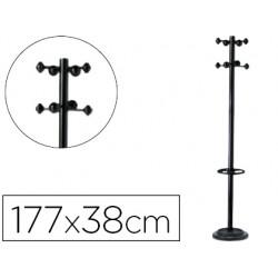 Perchero metalico unilux accueil pie 8 colgadores con paraguero y bandeja goteo negro 177 x 38 cm