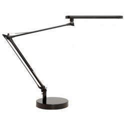 Lampara de escritorio unilux mambo led 5,6w doble brazo articulado abs y aluminio negro base 19 cm diametro