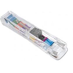 Dispensador supaclip rapesco supaclip 40 hojas capacidad con 25 clips multicolores color transparente