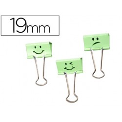 Pinza metalica rapesco reversible 19 mm sonrisas verde cajita de 80 unidades