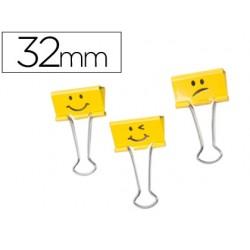 Pinza metalica rapesco reversible 32 mm emojis amarillo caja de 20 unidades
