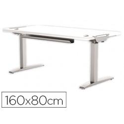 Mesa de oficina levado base metal acero pintado sistema electrico regulable altura tablero blanco 160 x 80 cm
