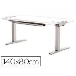 Mesa de oficina levado base metal acero pintado sistema electrico regulable altura tablero blanco 140 x 80 cm