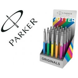 Boligrafo parker jotter plastic original expositor de 20 unidades colores surtidos