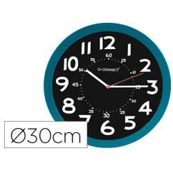 Reloj q-connect de pared plastico oficina redondo 30 cm color azul y esfera color negro
