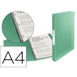 Carpeta esselte 4 anillas 25 mm din a4 colour ice polipropileno color verde