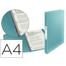 Carpeta esselte 4 anillas 25 mm din a4 colour ice polipropileno color azul