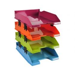 Bandeja sobremesa exacompta plastico arlequin set de 4 unidades colores surtidos 346x254x243 mm