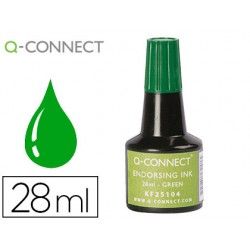 Tinta tampon q-connect verde frasco 28 ml